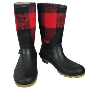 WindRiver Buffalo Plaid Rain Boots Red Black 10